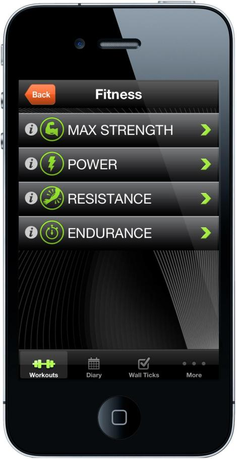 A picture of an iPhone showing the climbing coach app