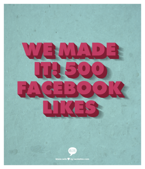 We made it! 500 Facebook likes