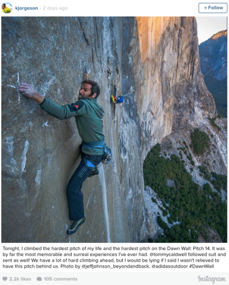 The Dawn Wall- K Jorgeson- Instagram